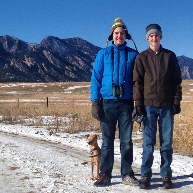 The boys and Scooter at Flatirons Trail in Boulder